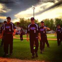 My teammates and I coming off the field after introductions at the NASCAR vs NHRA charity softball game.