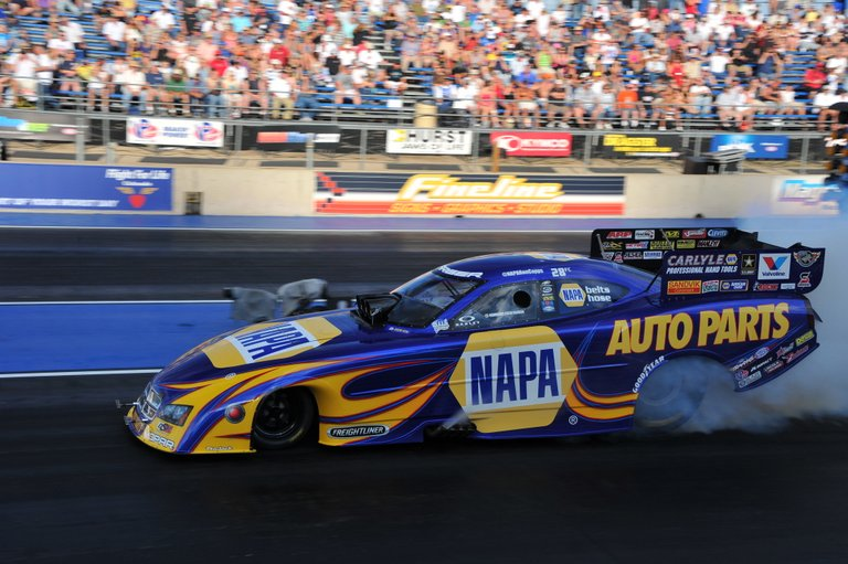 NAPA Funny Car Team driver Ron Capps burnout at Mile-High