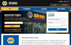 NAPA Rewards website home