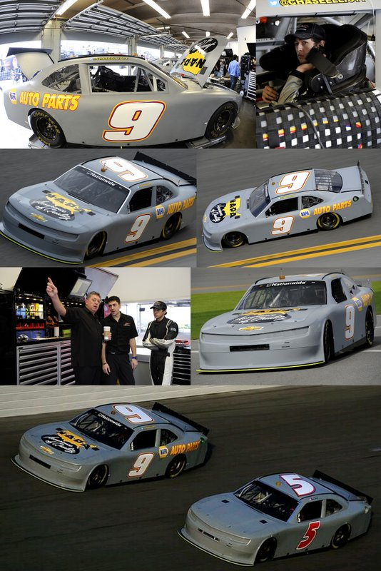 Share this photo collage of Chase Elliott testing the No. 9 NAPA Auto Parts Chevrolet at Daytona International Speedway, January 2014.