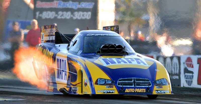 NAPA AUTO PARTS Dodge Charger RT Ron Capps Las Vegas 2014 flames