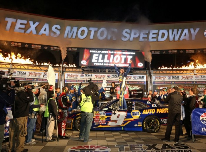 Chase Elliott First Career Nationwide Win 2014 Texas Motor Speedway No. 9 NAPA Chevrolet celebration