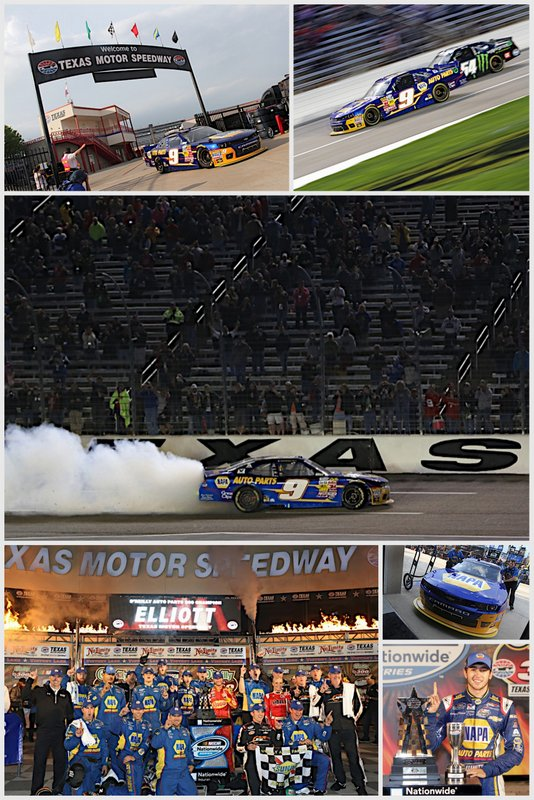 Chase Elliott First Career Nationwide Win 2014 Texas Motor Speedway No. 9 NAPA Chevrolet collage