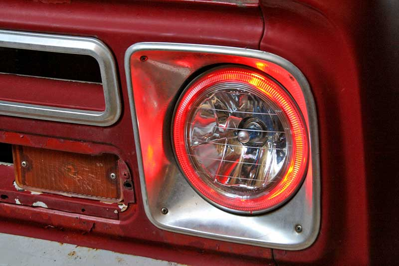 We wired the angel eyes to the turn signals, so that they only light up when the turn signals are on. This is an option, you can buy non-angel eye (or halo) housings as well.