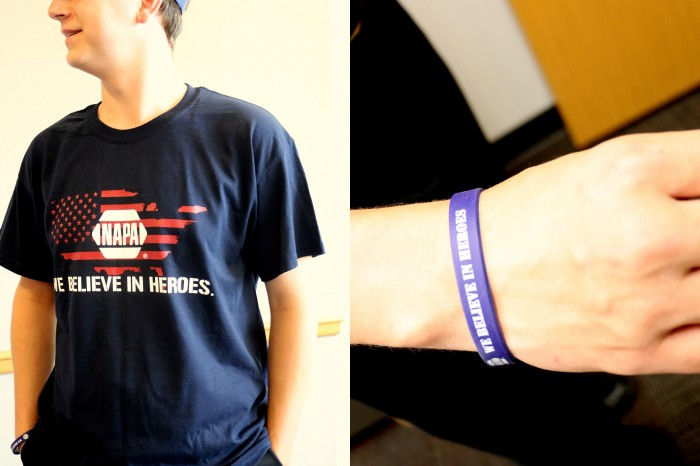 NAPA AUTO PARTS We Believe in Heroes Tshirt bracelet 2014