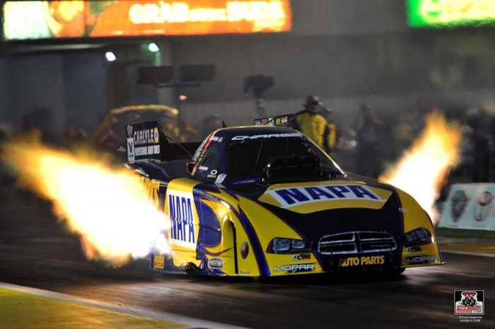 Ron Capps NAPA AUTO PARTS Dodge Charger RT Funny Car Englishtown 2014 flames