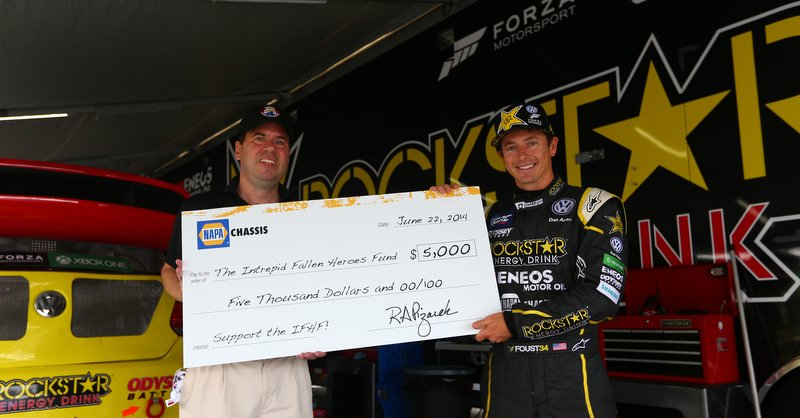 Tanner Foust NAPA Chassis Intrepid Fallen Heroes Fund 2015 check presentation 7