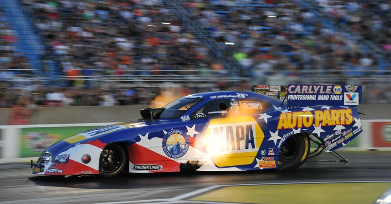 NAPA AUTO PARTS Intrepid Fallen Heroes Fund Dodge Charger RT Funny Car Ron Capps flames Norwalk preview