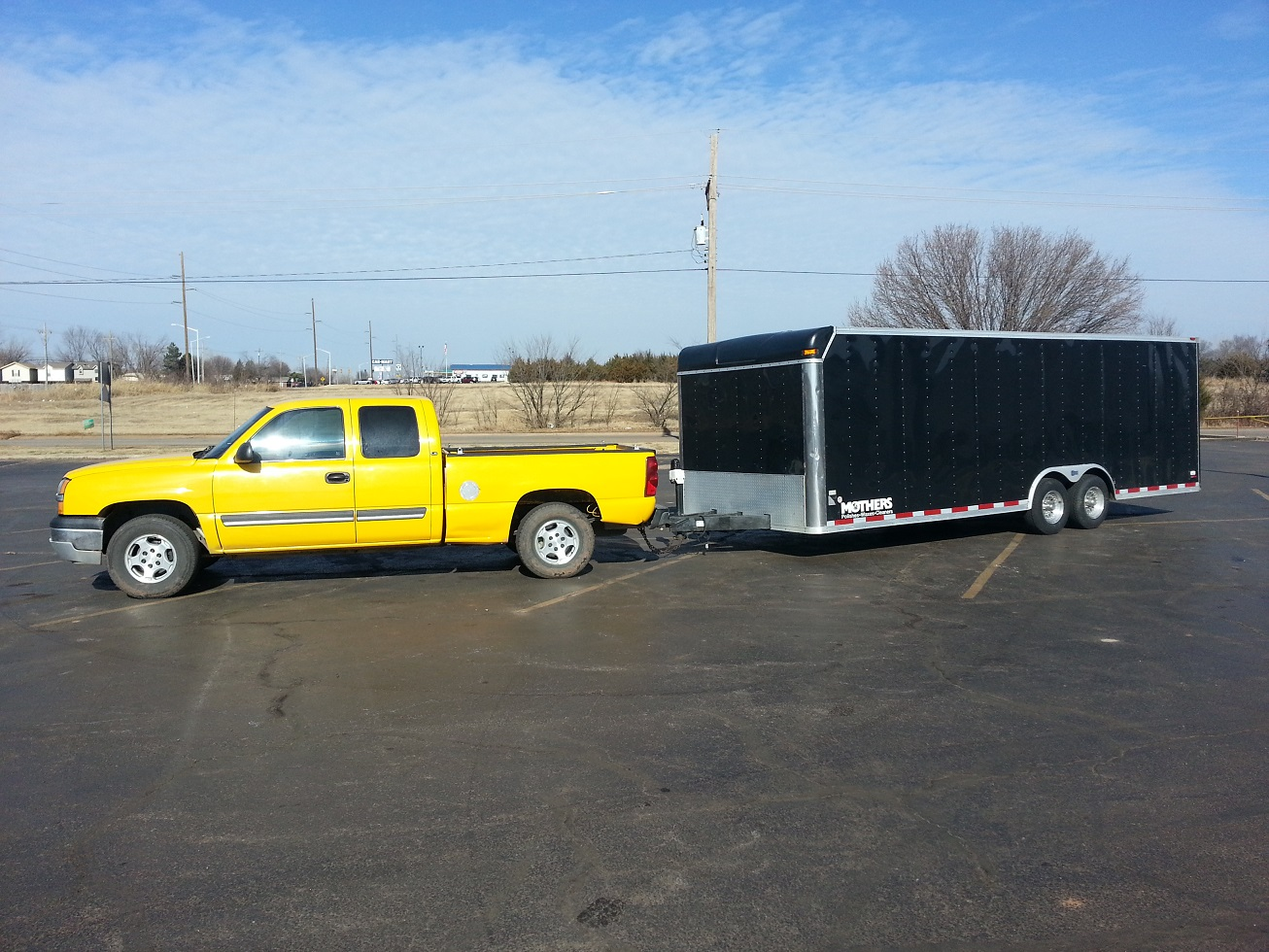 With the Silverado hooked up with the 24-foot enclosed car hauler, the results were noticed immediately. The trailer towed much better than before, all due to the adjusted valving. Thanks Rancho!