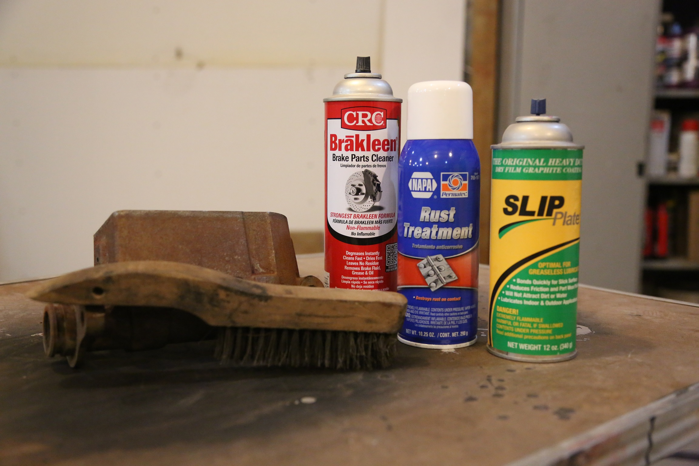 To remove and treat the master cylinder, we need a few products- NAPA rust treatment, brake cleaner, and to protect the finish--Slip Plate.