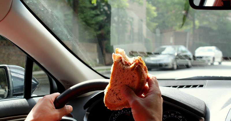 distracted driving - sandwich