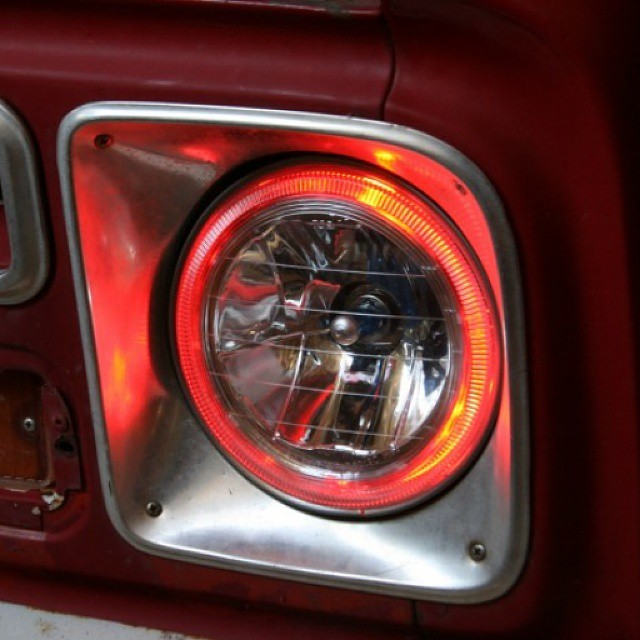 Angel Eye #headlights on a #classic '67 Chevy C10 truck -  http://napaau.to/1ovD8m9 #Halogen #AngelEyes #trucks #classiccars #classictrucks #American #imports #modern #DIY