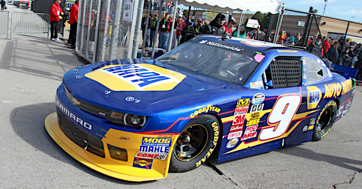 Chase Elliott during qualifying for the Kansas Lottery 300 at the Kansas Speedway in Kansas City, KS.