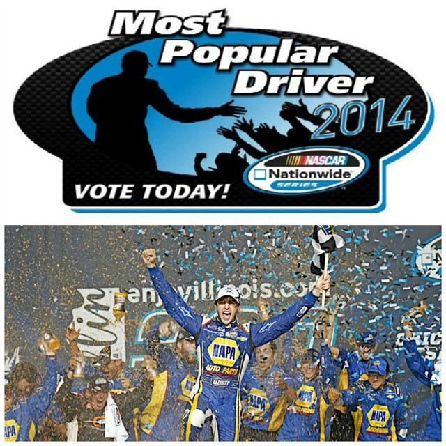 Vote once a day to help @ChaseElliott9 win the 2014 @NASCAR Nationwide Series Most Popular Driver award - http://napaau.to/1BXUYEk #di9 #NAPAKnowHow #wheniwas18 #ConquerTheJob #racing #NASCAR #NationwideSeries #JRMotorSports