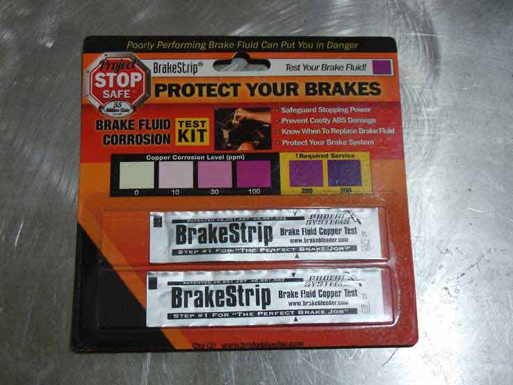 Another potential issue is worn out brake fluid. Brake fluid absorbs moisture from the air, which eventually degrades it's performance. These test strips show you if your fluid is still good or needs changed.