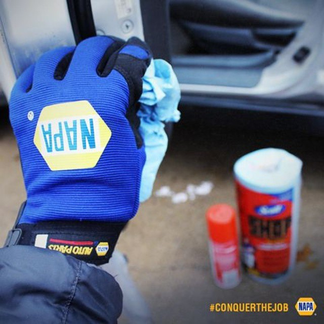 When it's freezing outside, cooking spray works for nonstick doors too. #ConquerTheJob