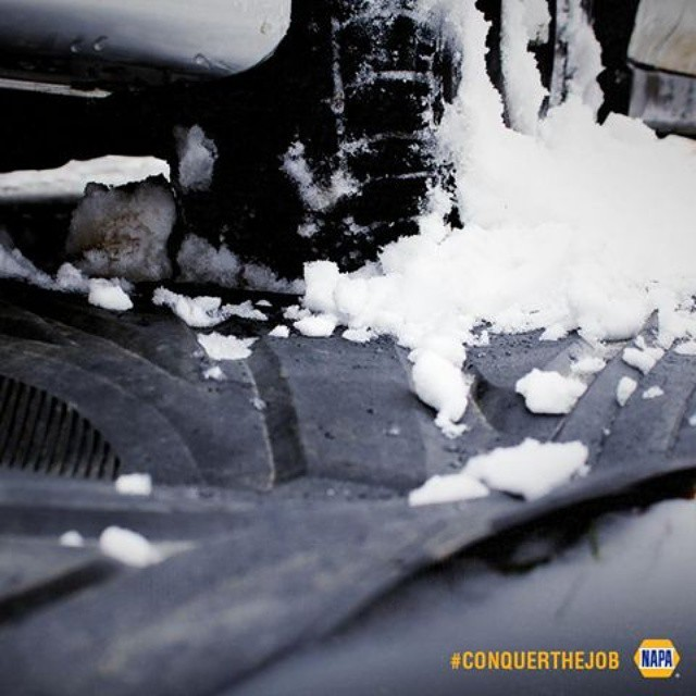 If you're stuck in the snow, think with your feet — and place your floor mats under your tires. #ConquerTheJob