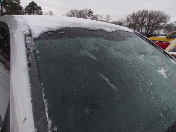 All clear and ready for the drive. Be careful with the wipers, they will likely have ice on them, which can make it harder to see.