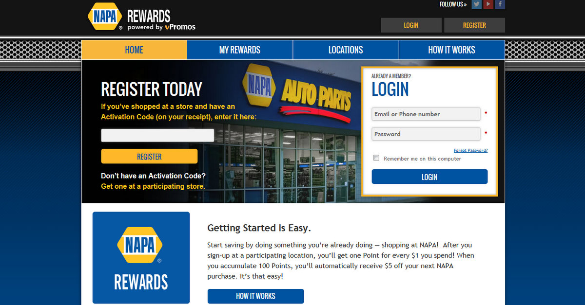 NAPA Rewards register