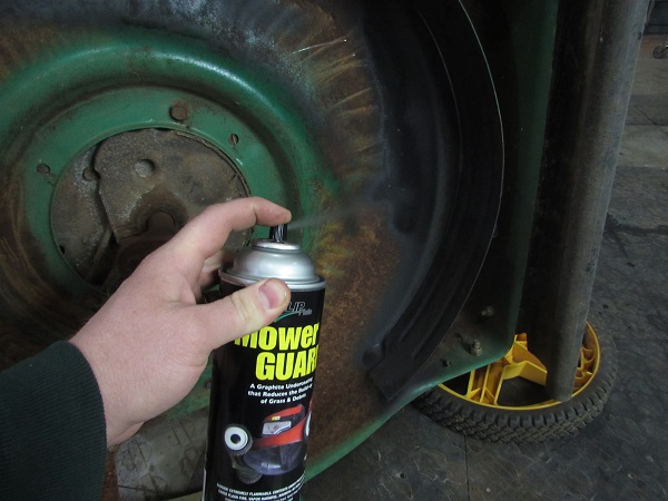 The Mower Guard sprays on easily. Don't worry about runs, it will not effect the function.