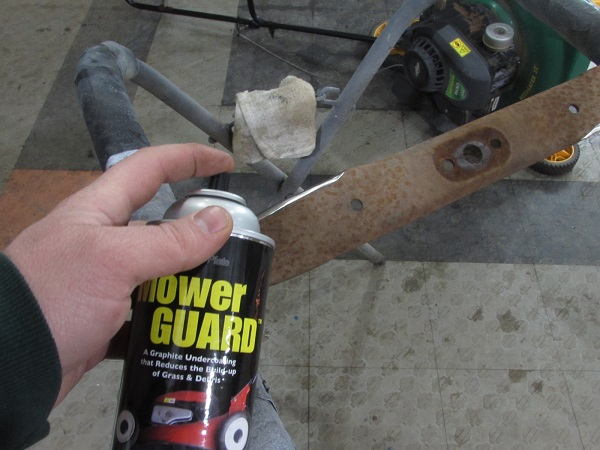 The blade was also painted with the Mower Guard graphite spray as well.