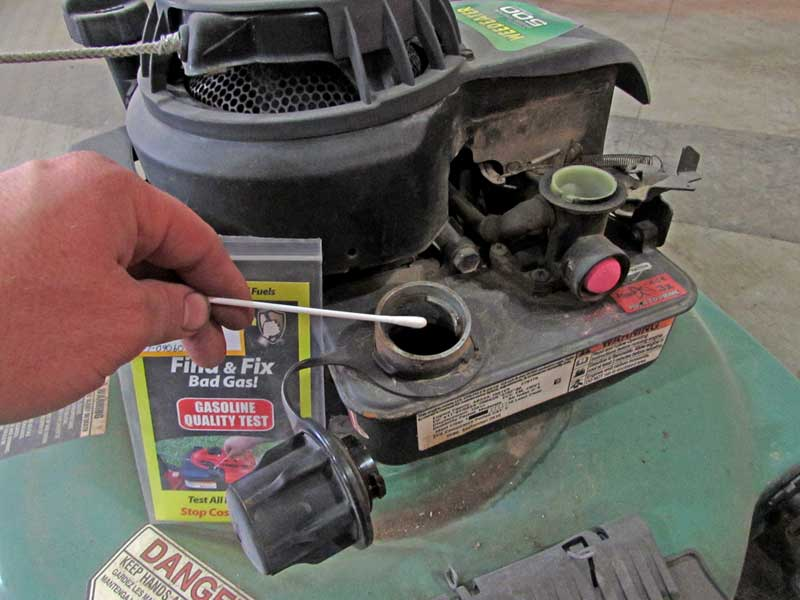 Bad gas can make the engine a lot harder to start. Check it with a test kit. The cotton swab goes into the gas and left to sit for a few minutes.