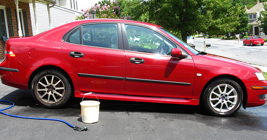 Car ready to wash in the driveway