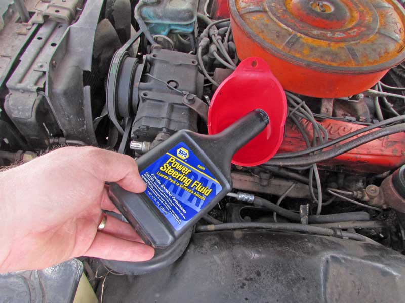 Fire up the engine and top off the pump reservoir with NAPA power steering fluid and go for a spin. You will want to check the fluid level after 20-30 miles as air pockets may dislodge, lowering the actual fluid level in the reservoir.