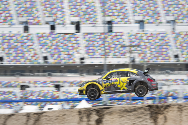 Tanner Foust Global Rallycross Daytona win 2015 NAPA Chassis flying