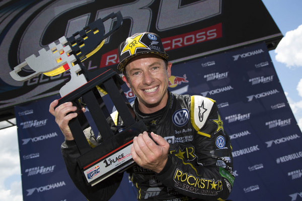 Tanner Foust Global Rallycross Daytona win 2015 NAPA Chassis trophy