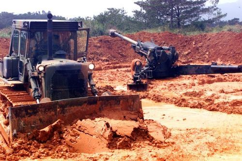 Bulldozers have been used to clear land for military purposes.