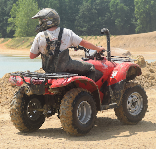 No matter what your age, always keep your eyes on the path ahead when operating an ATV.