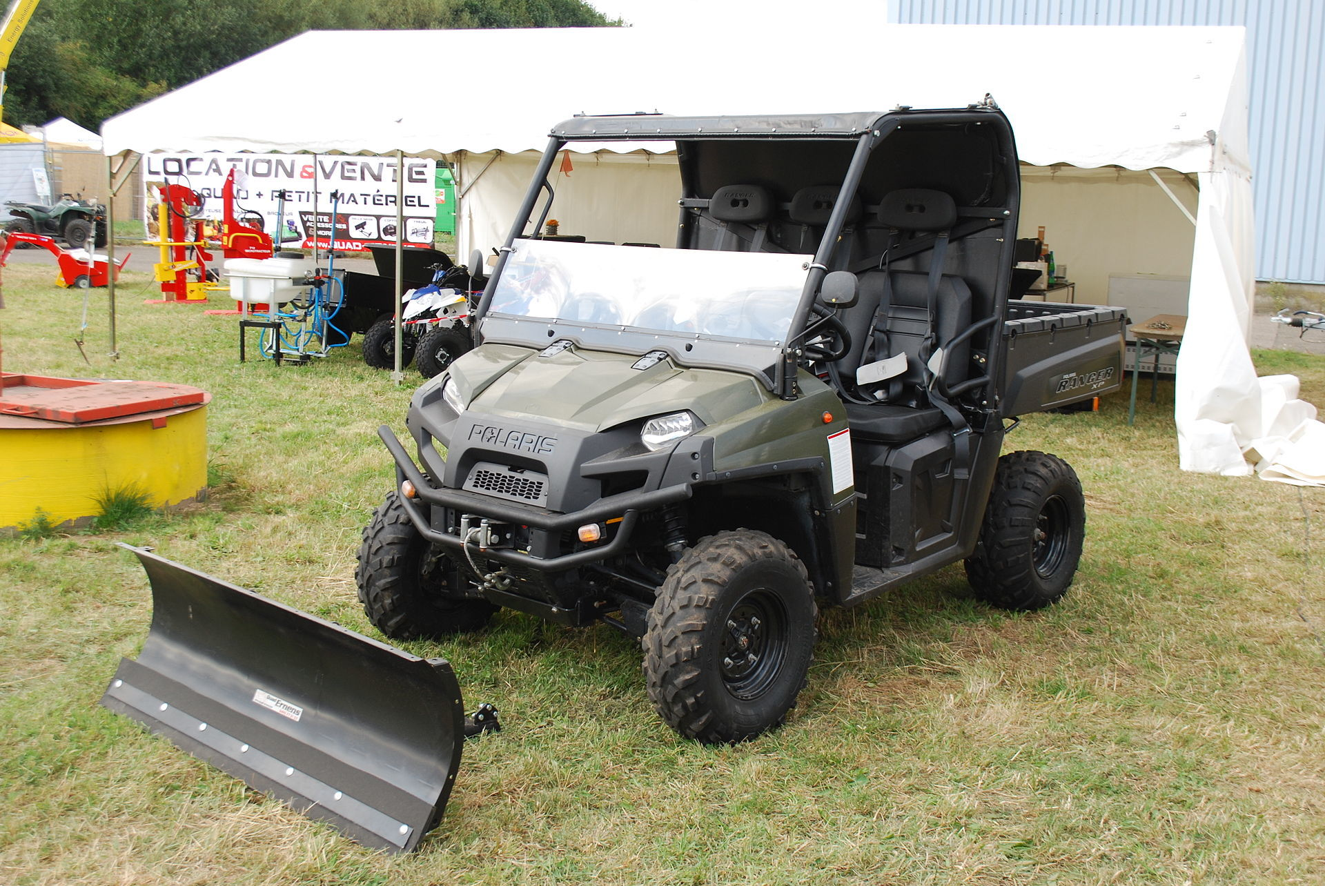 ATV with plow for forestry or agriculture