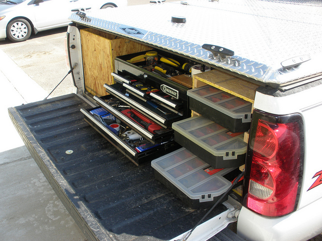 DIY toolbox storage in a pickup truck