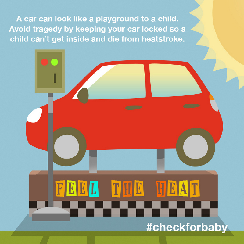 Heatstroke prevention - child safety - lock your car playground