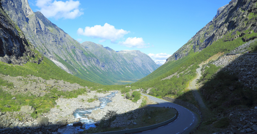 Mountain road passing through a valley