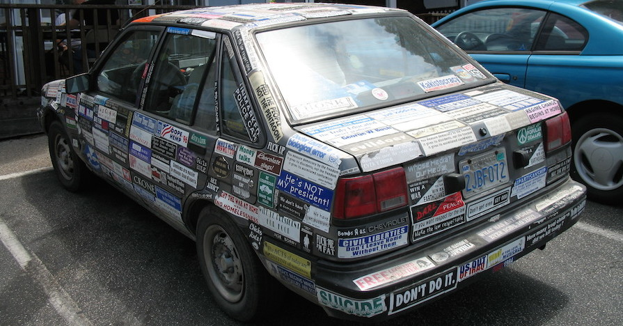 ... car with stickers