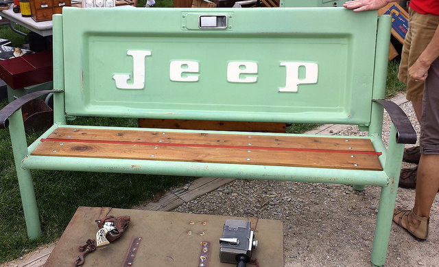 Bench made out of a Jeep tailgate