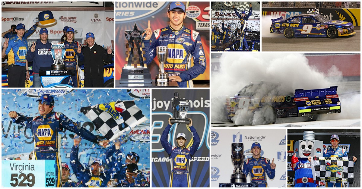 Chase Elliott 2014 2015 NAPA AUTO PARTS JR Motorsports victory collage