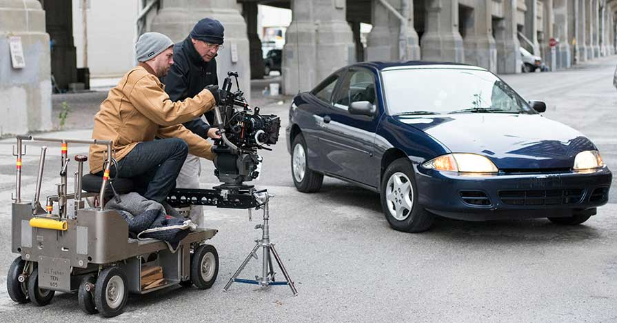 filming a car commercial