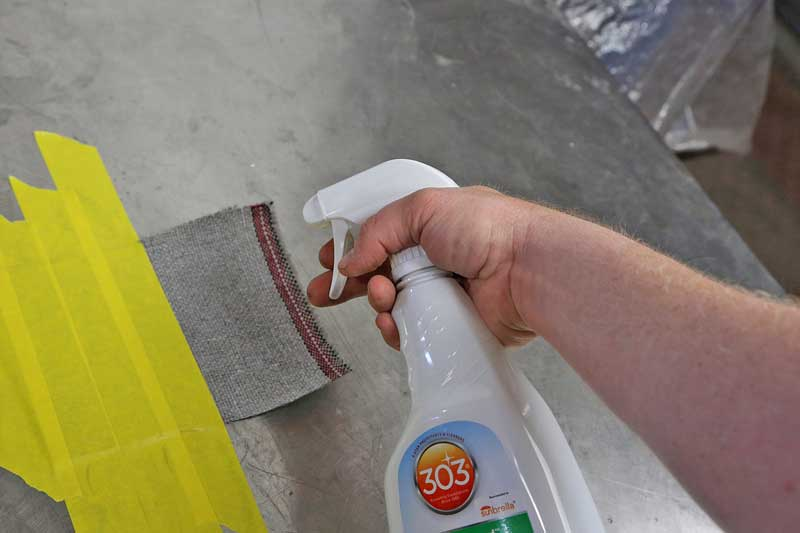The Fabric Guard was sprayed onto the fabric as directed on the bottle.