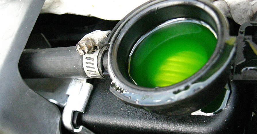 Antifreeze in engine