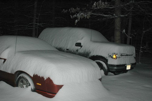 When starting a car covered in snow, ensure the exhaust pipe is clear to avoid carbon monoxide poisoning.