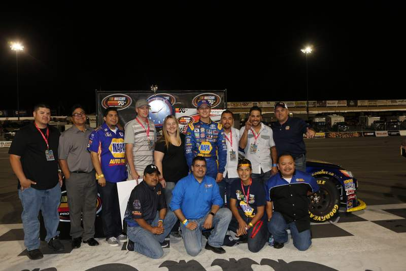 Todd Gilliland victory lane NASCAR KN Pro West Kern Raceway 2016 NAPA AUTO PARTS VIPs