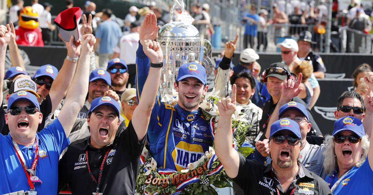 29 May, 2016, Indianapolis, Indiana, USA Alexander Rossi celebrates in victory lane ©2016, Phillip Abbott LAT Photo USA