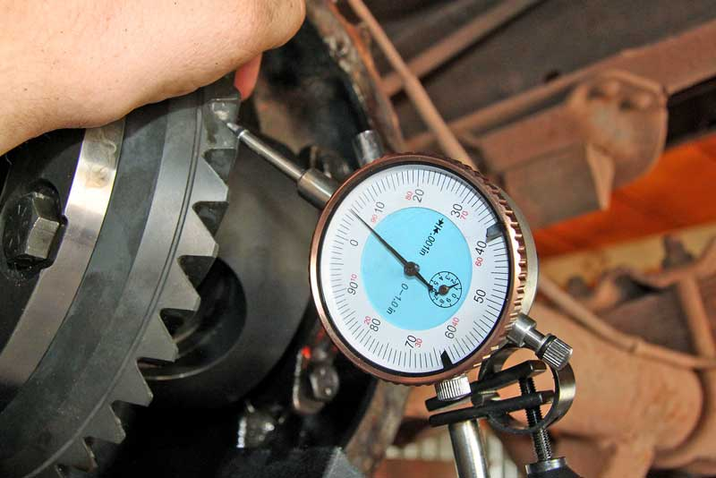 A dial indicator with a magnetic base is used to set the backlash on the gears. This takes a little practice to set up correctly and is critical to proper installation of a new gear set or differential.