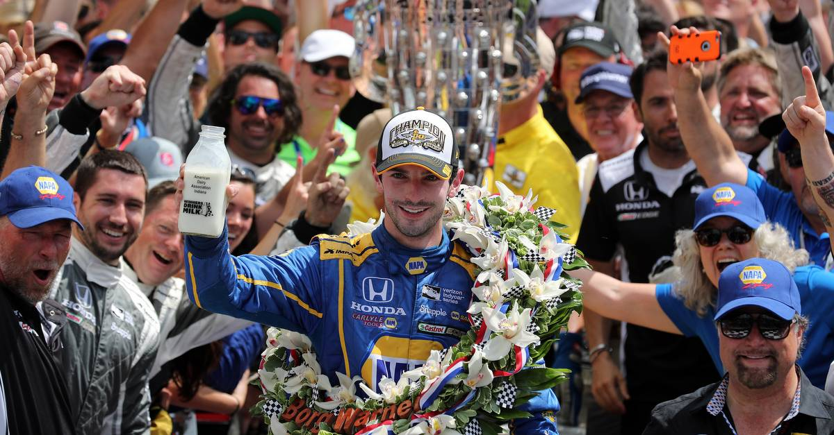 29 May, 2016, Indianapolis, Indiana, USA Alexander Rossi celebrates with the traditional milk in victory lane ©2016, Phillip Abbott LAT Photo USA