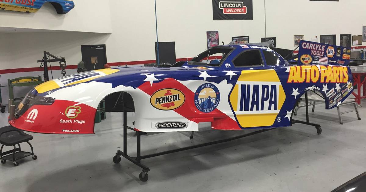 NAPA AUTO PARTS Funny Car Intrepid Fallen Heroes Fund patriotic paint scheme body Ron Capps NHRA Norwalk