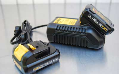 A cordless tool battery charging station.