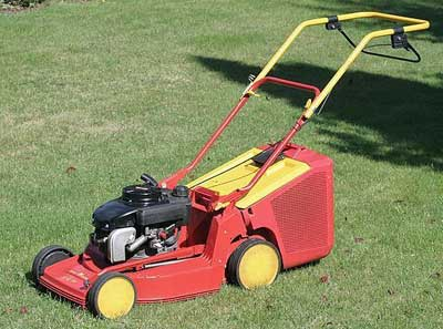 A gas-powered lawn mower.